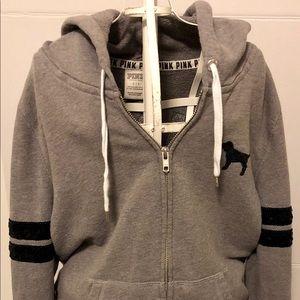 Pink By Victoria Secret Grey Hooded Sweatshirt